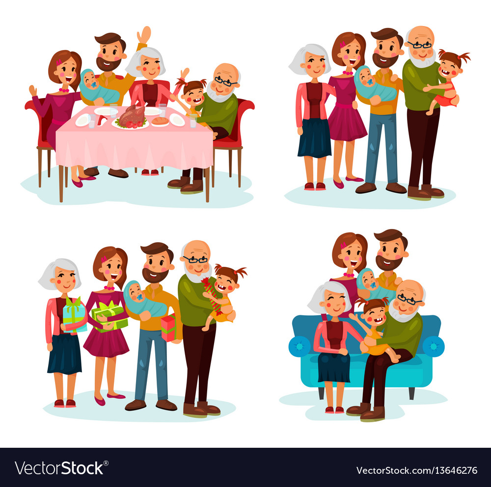 Family at dinner table on sofa and with gifts