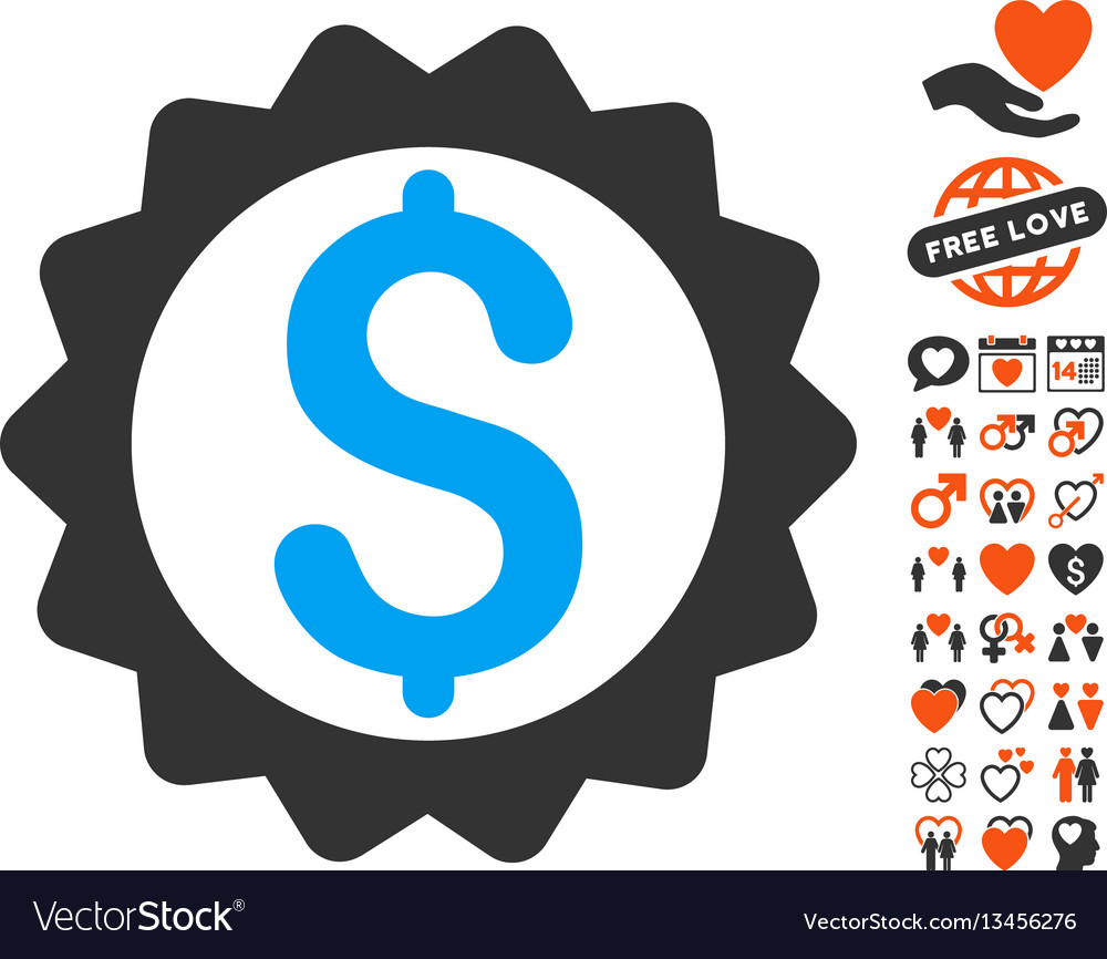 Financial seal icon with love bonus vector image