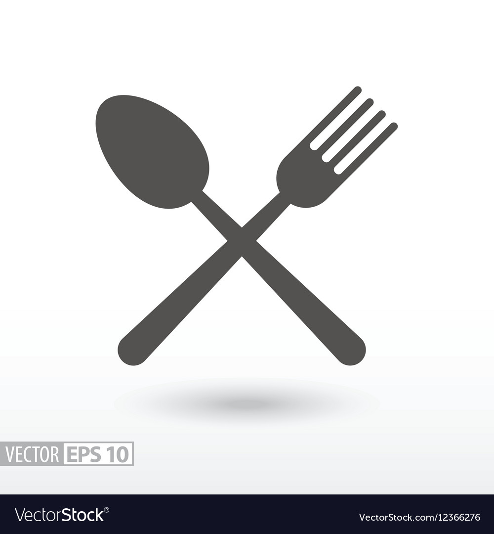 Fork and spoon - flat icon Sign Food