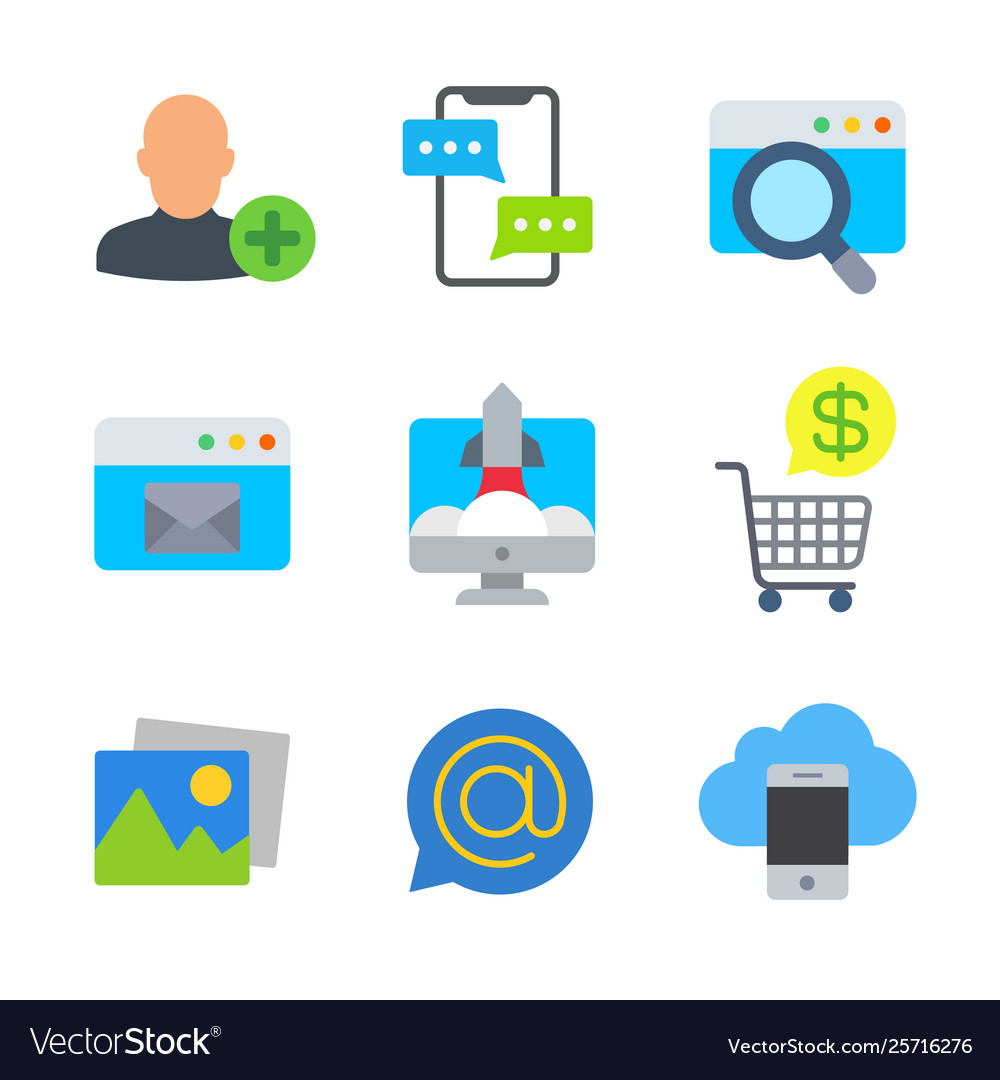 Marketing and seo colored trendy icon pack 3