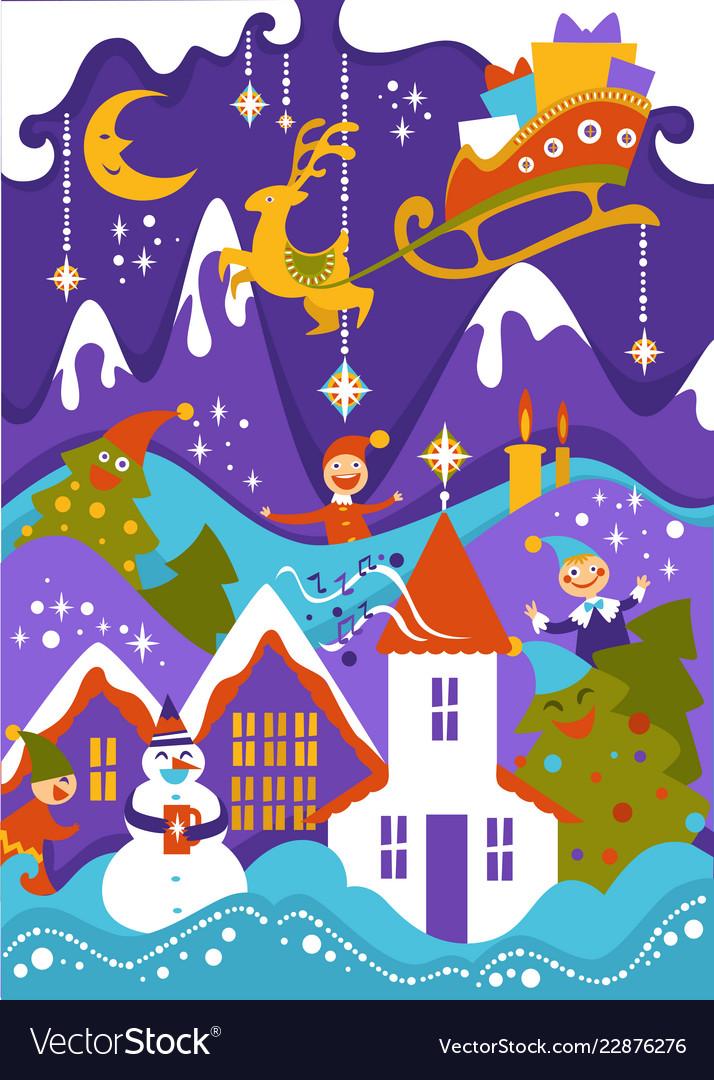Merry christmas greeting mountain
