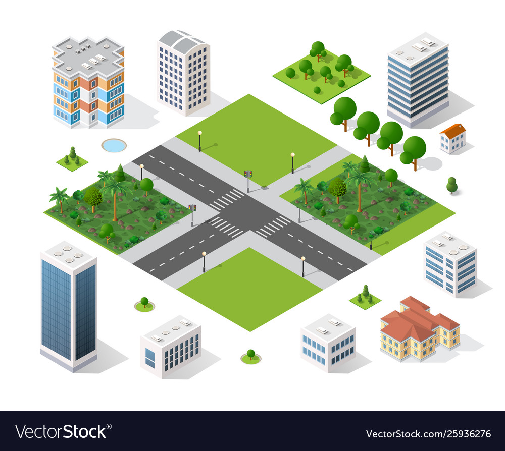 Modern 3d city isometric