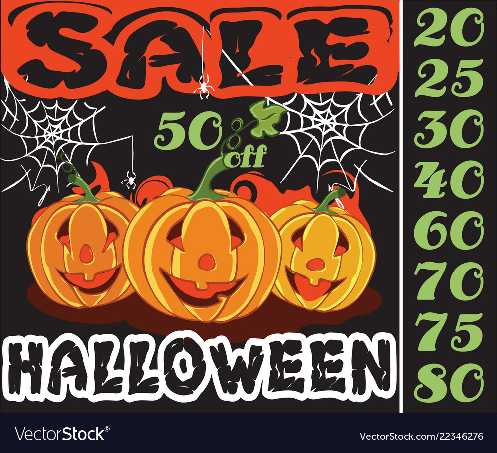 Pumpkin and sale in holiday halloween design