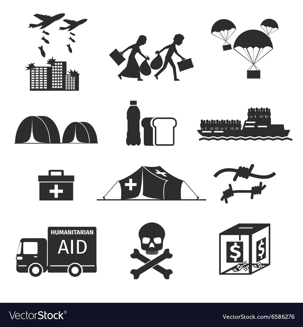 Refugees evacuee concept War victims black icons