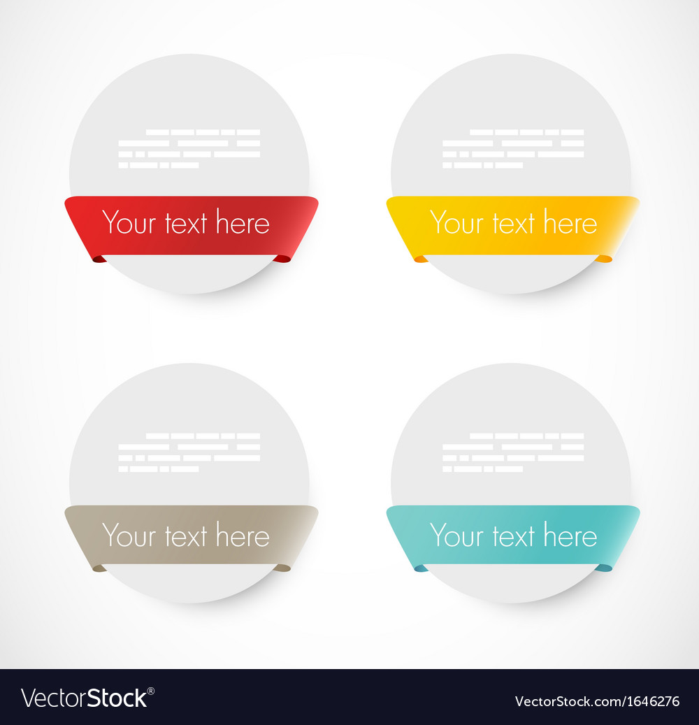 Set of rounded banners with ribbons