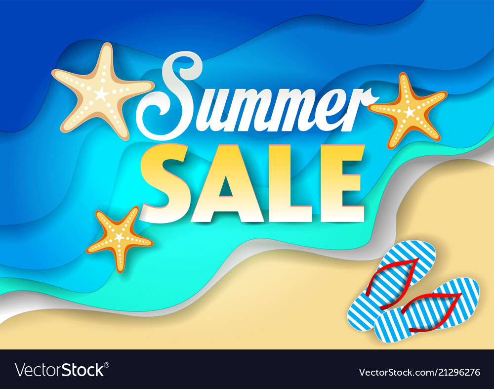 Summer sale paper cut poster template