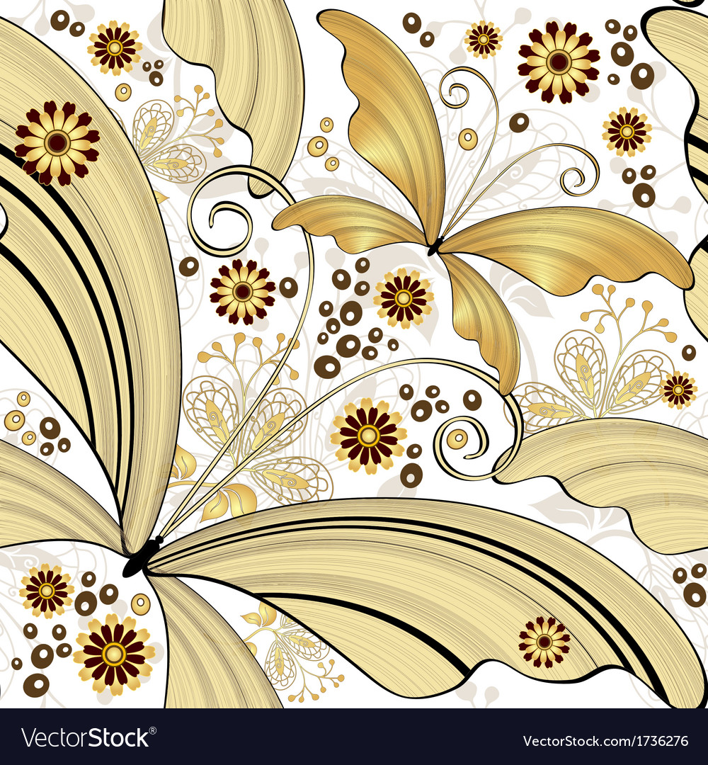 Vintage pattern with gold butterflies vector image