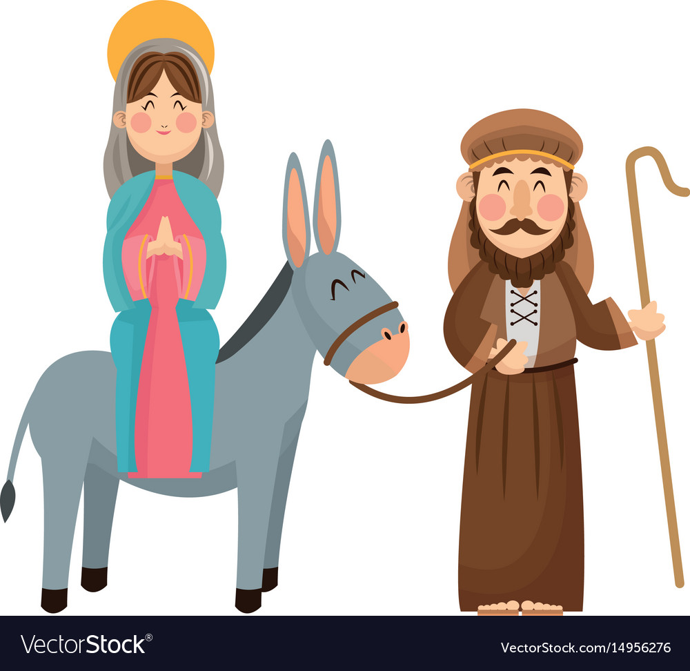 Virgin mary joseph donkey scene nativity