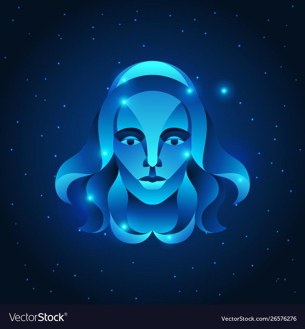 Virgo zodiac sign blue star horoscope symbol