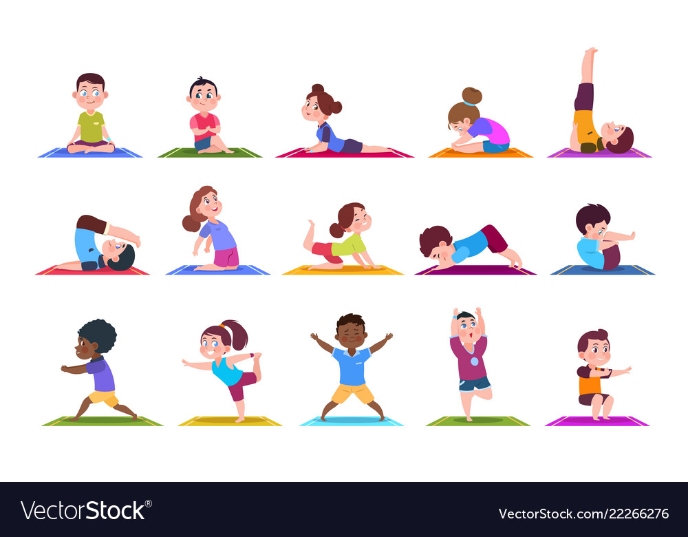 Yoga Kids Cartoon Children Doing Yoga Sporting Vector Image