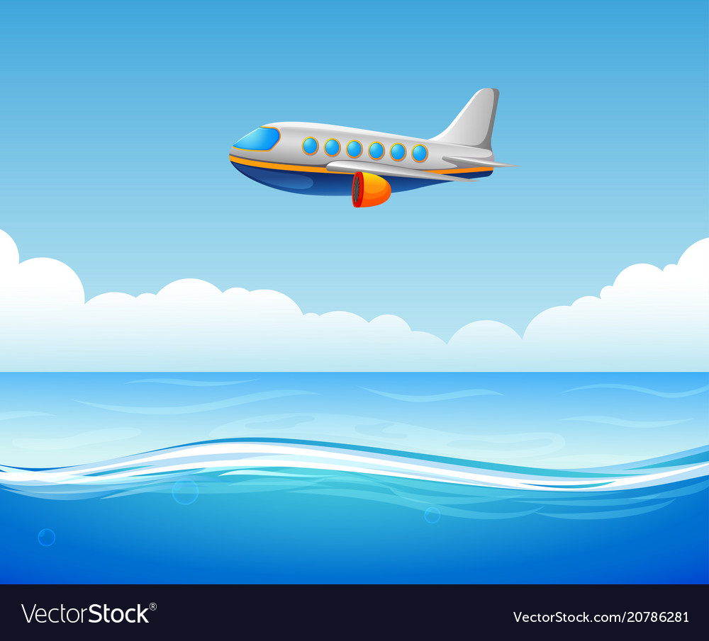 A commercial plane flying over sea