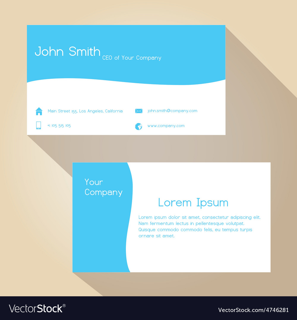 Blue and white simple business card design eps10 vector image colourmoves