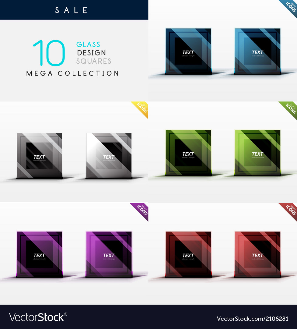 Collection of glass square web boxes