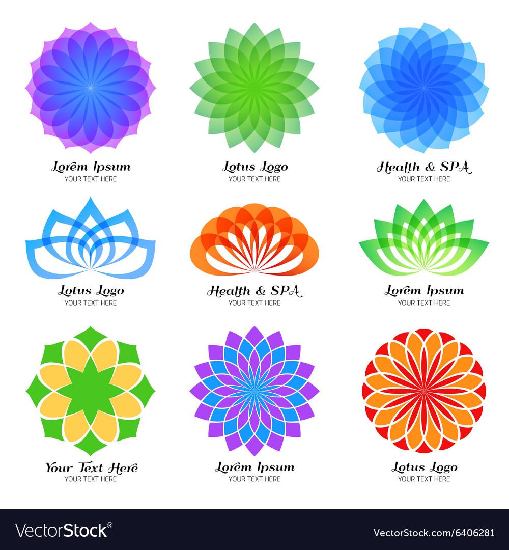 Lotus color logo label and emblem set