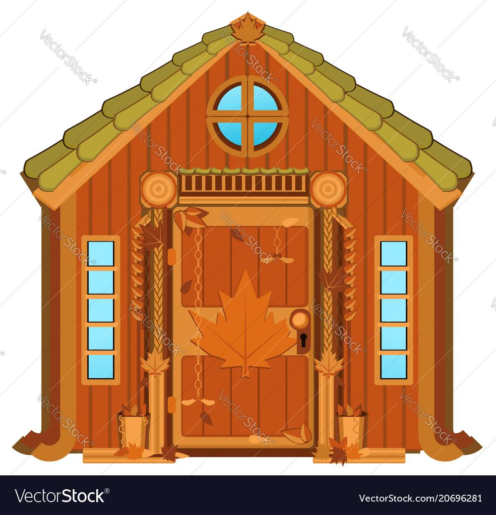 Maple Cabin Cartoon Royalty Free Vector Image Vectorstock