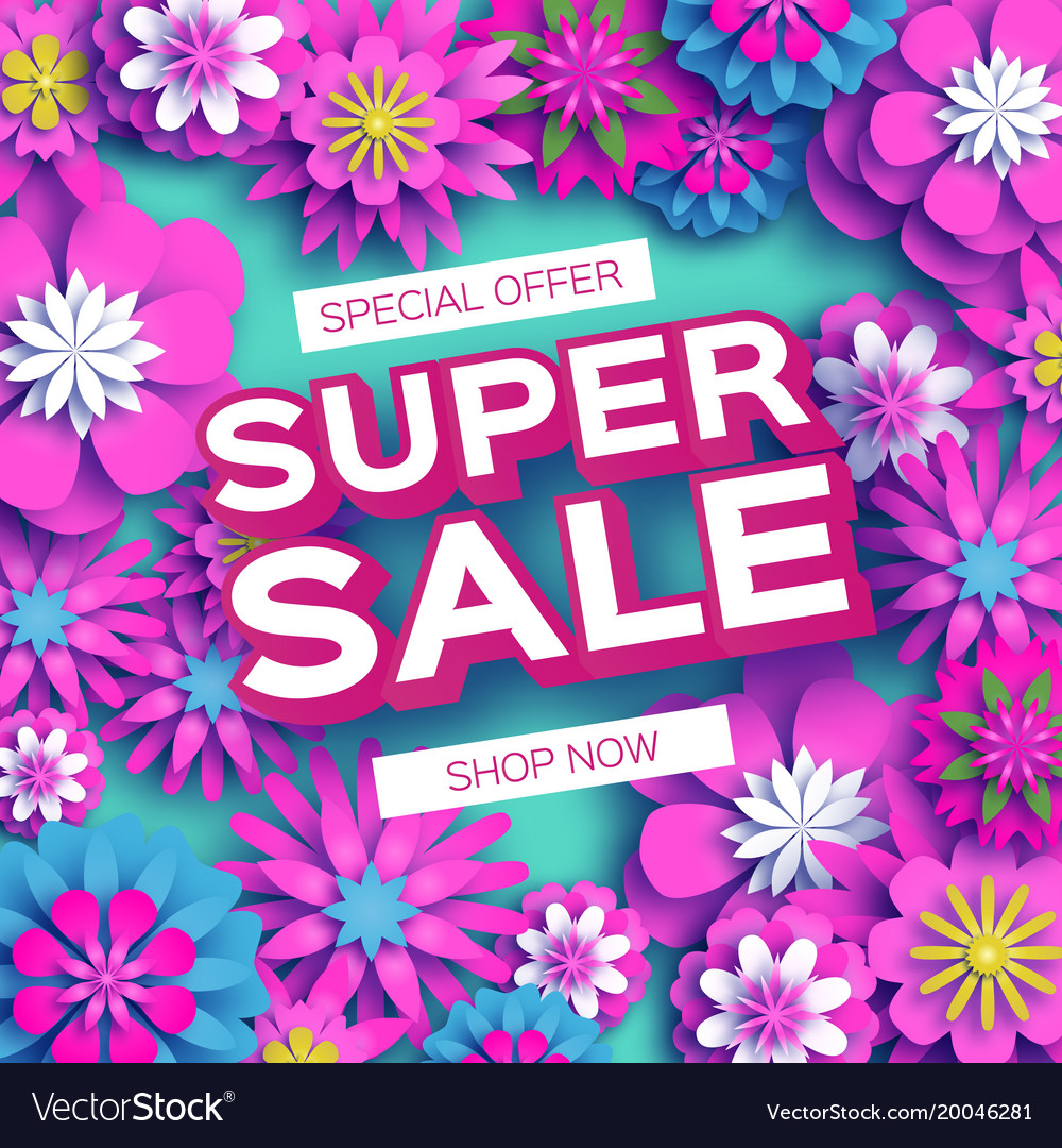 Origami pink super spring sale flowers banner vector image mightylinksfo