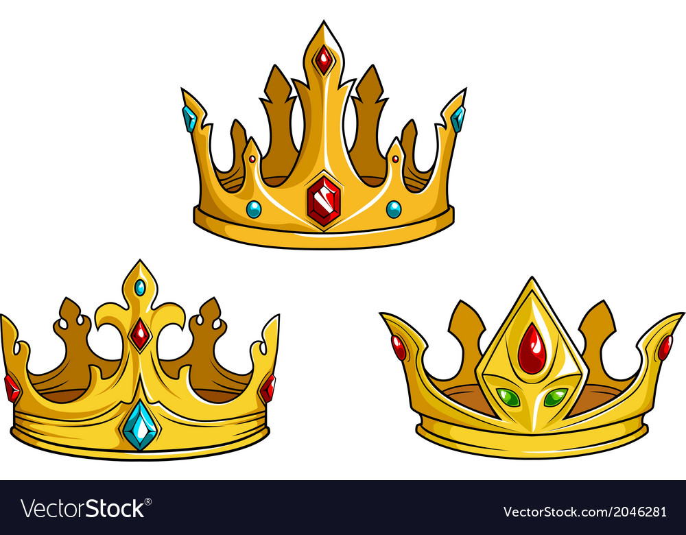 Royal golden crowns with jewelry vector image