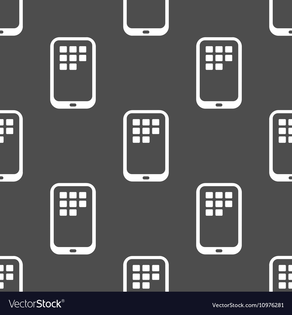 Seamless pattern with smart phone outline vector image