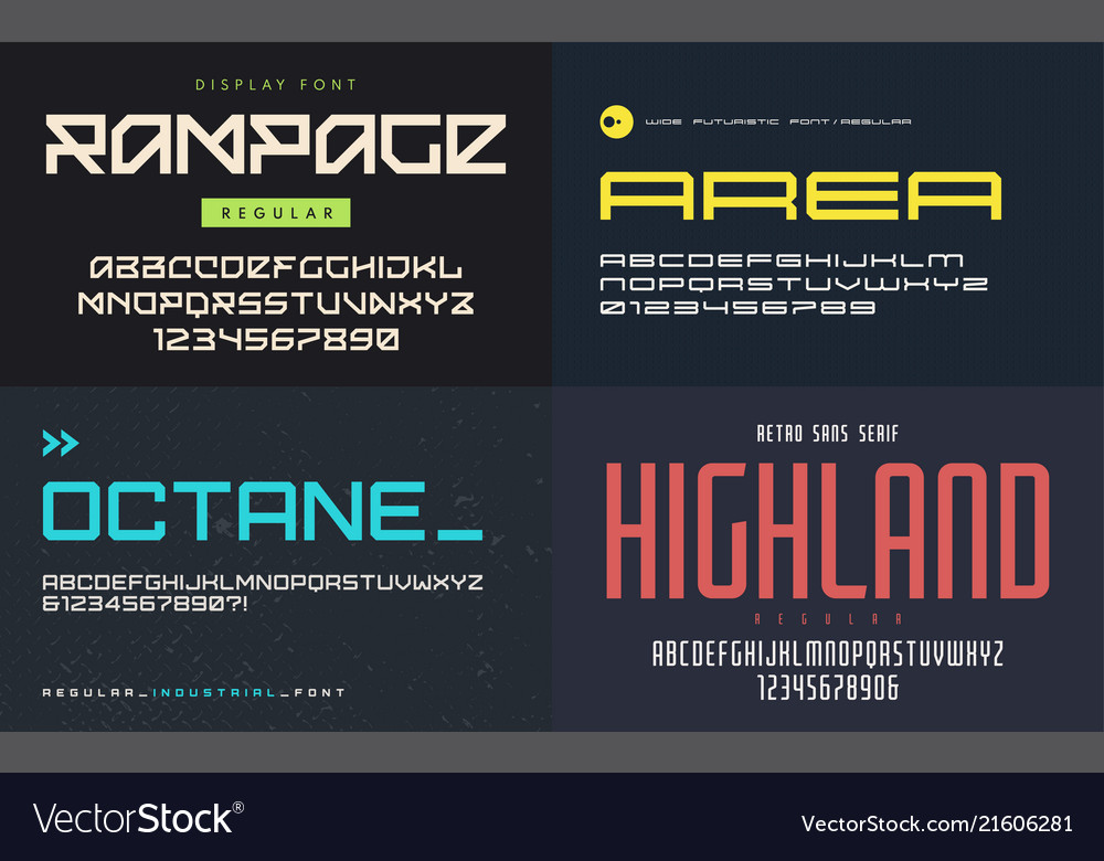 Set of display fonts typefaces uppercase