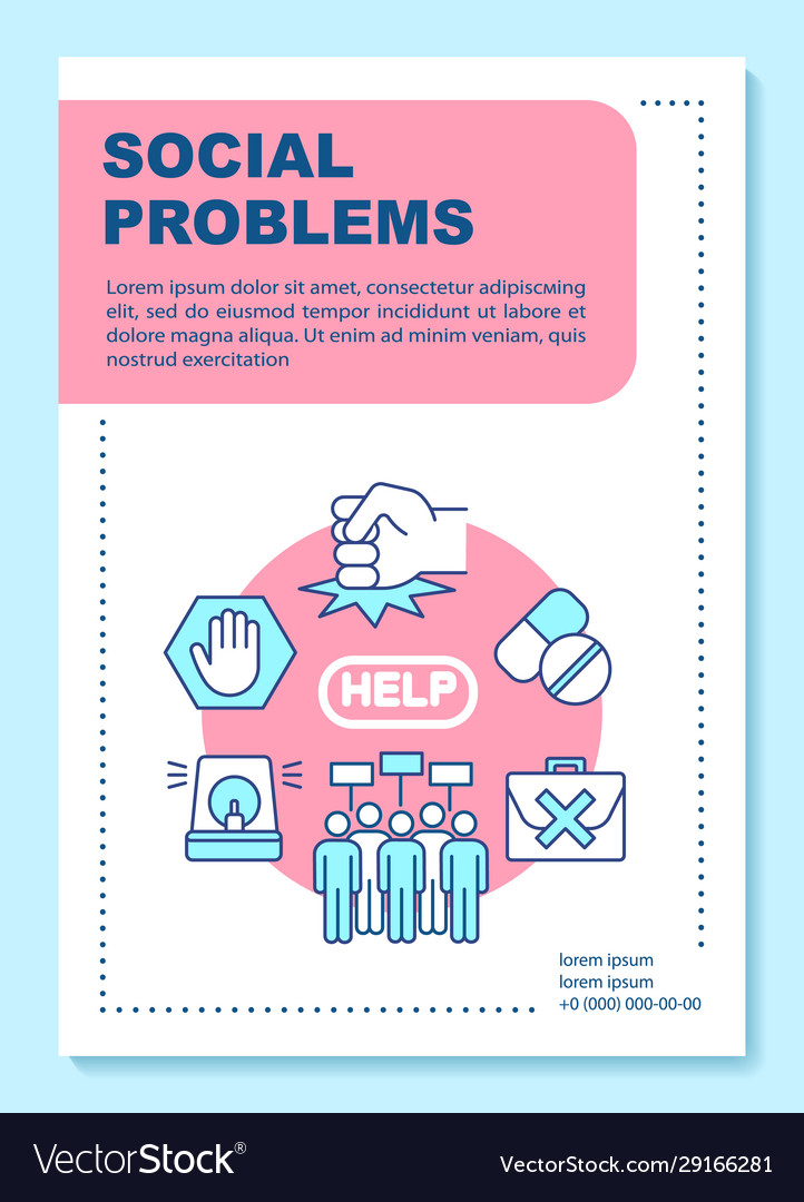 Social Issues Problems Poster Template Layout Vector Image