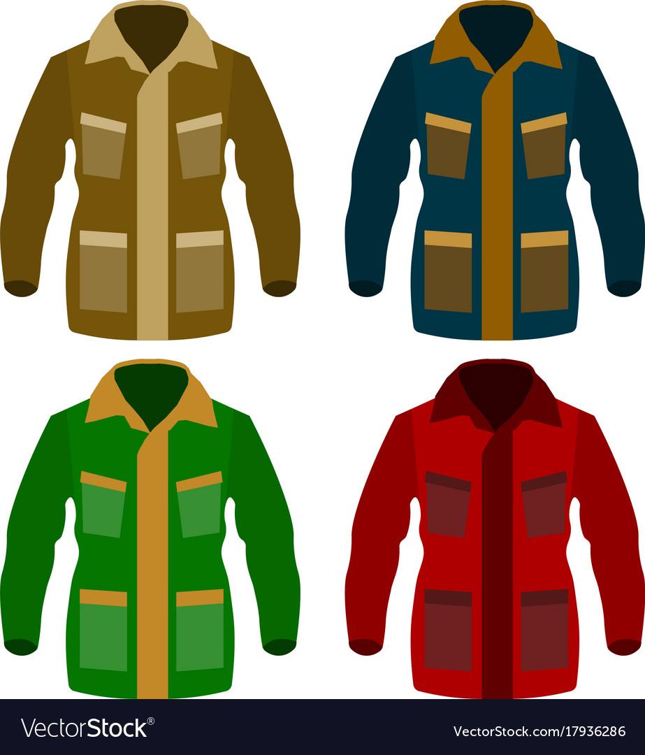 Autumn fleece jacket set isolated on white vector image