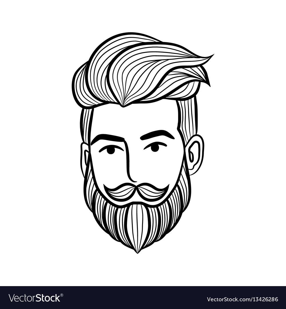 Beard man logo element