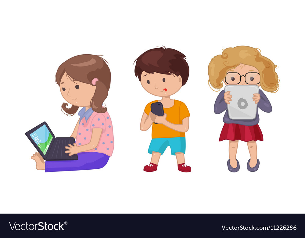 Cute young girl boy with computer laptop tablet