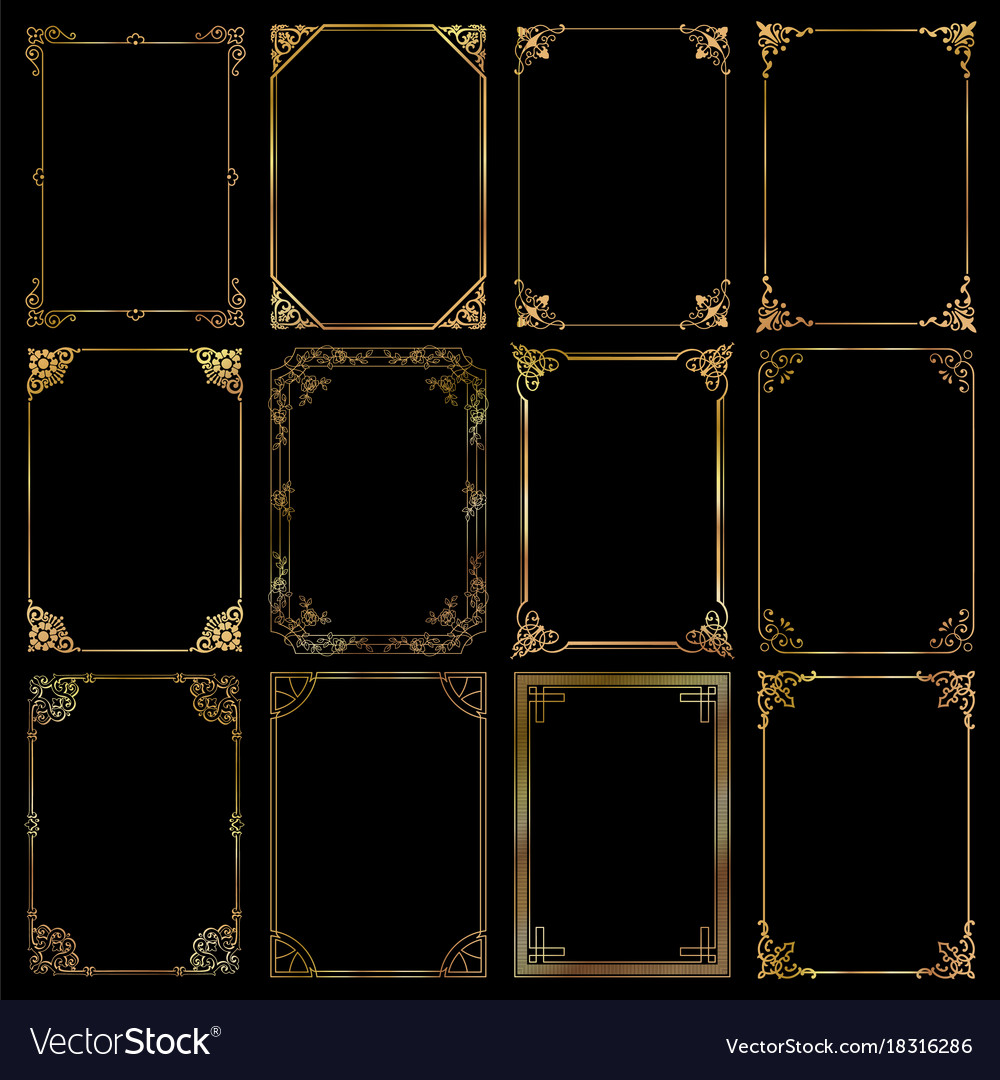 Decorative rectangle gold frames and borders set