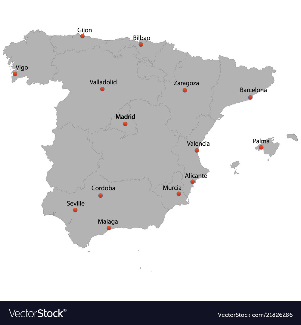 Detailed map of the spain