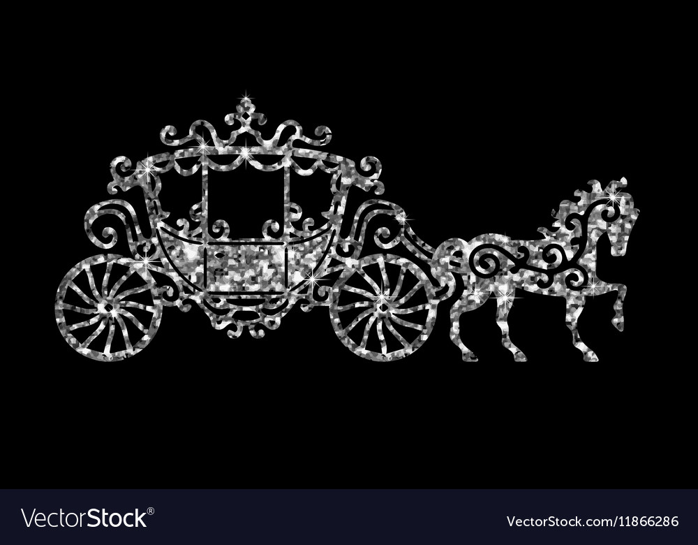 Horse carriage silver silhouette