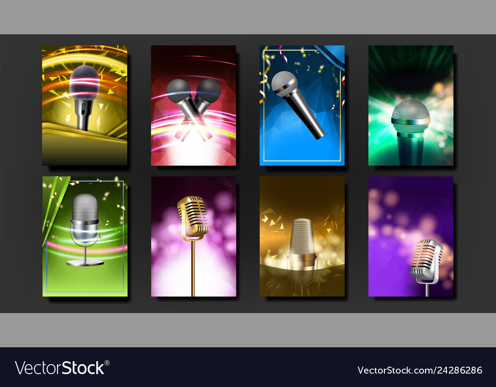 Karaoke poster template blank set old bar