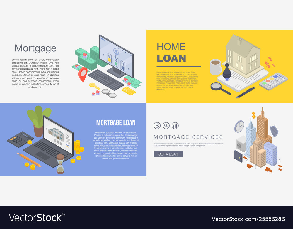 Mortgage Banner Set Isometric Style Royalty Free Vector