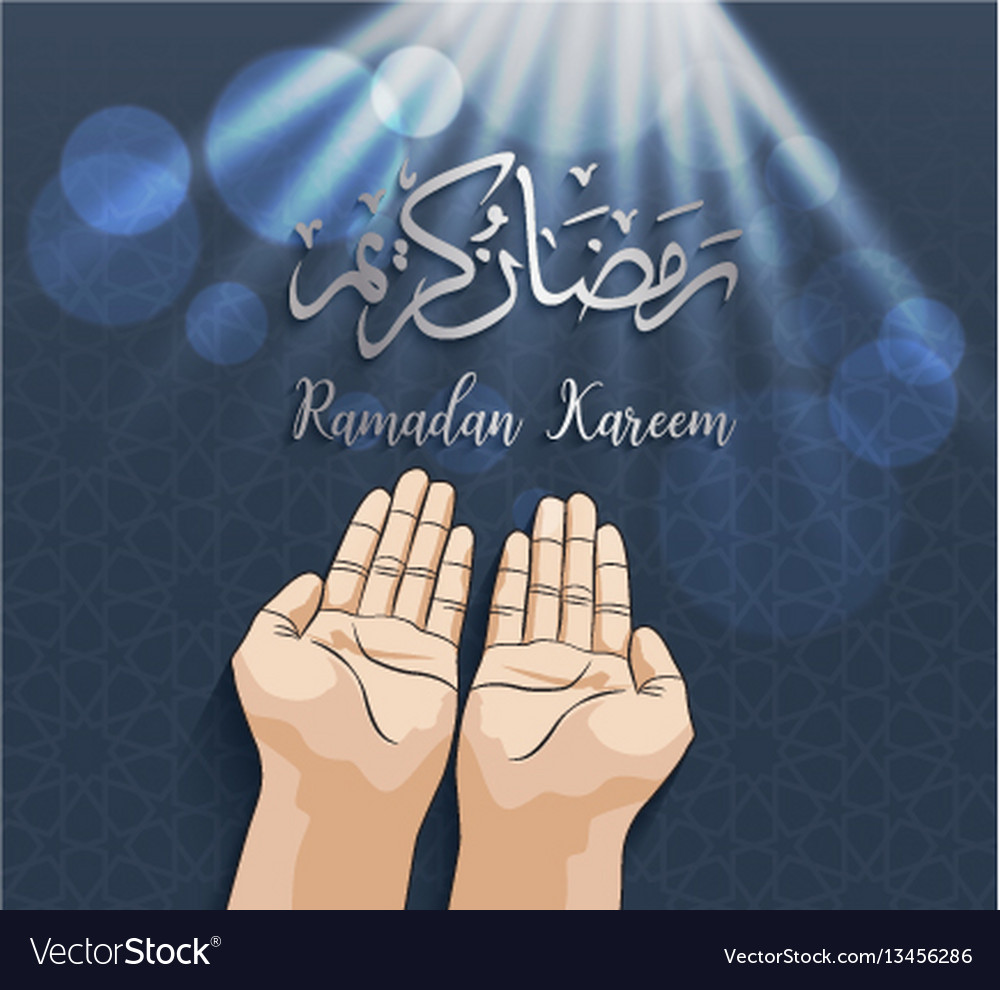 Muslim hands in pose of praying on ramadan