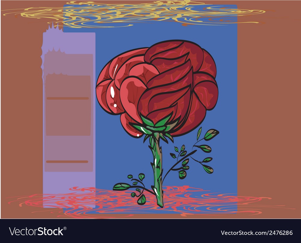 Outlined by a black outline painted red rose