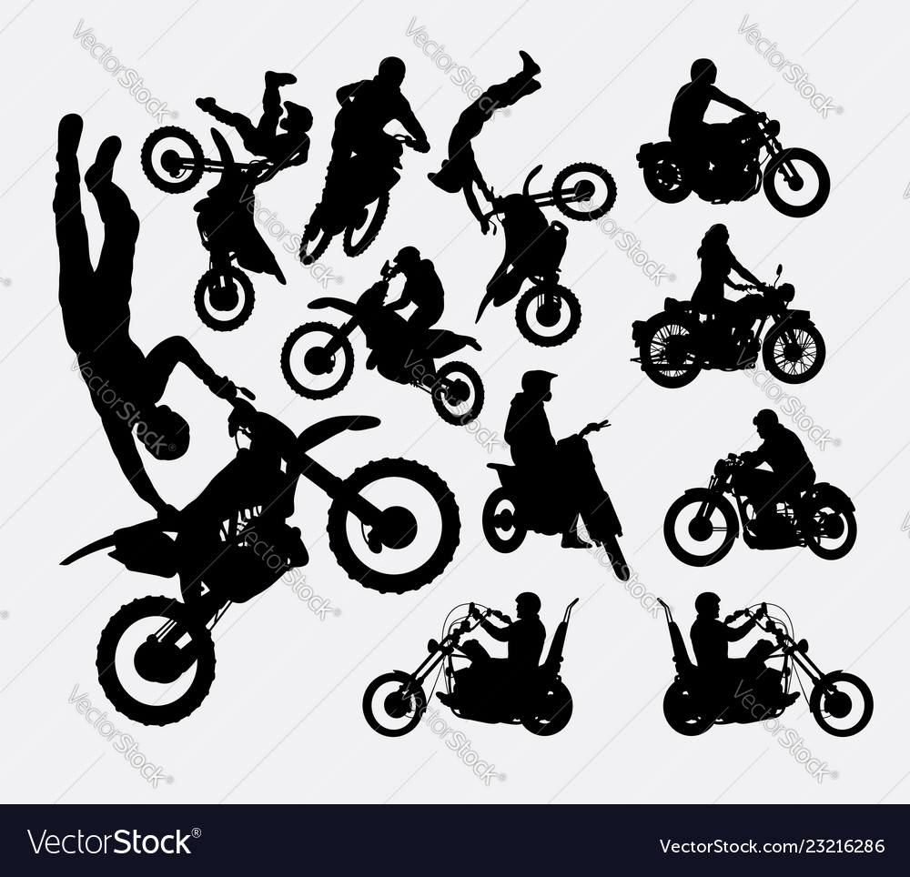 Riding motocross and vintage motorcycle silhouette