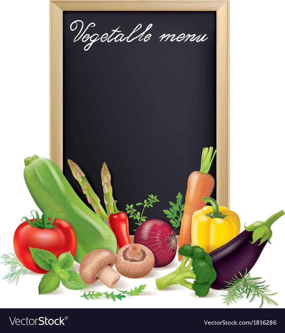 Vegetable menu board and vegetables