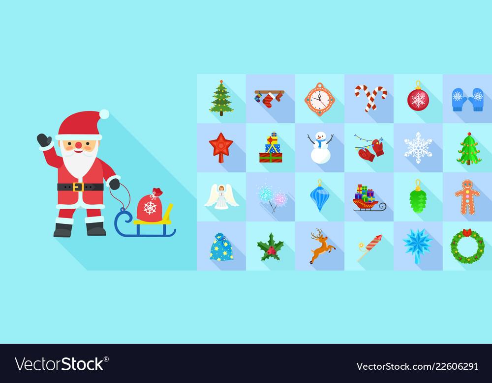 Christmas icon set flat style