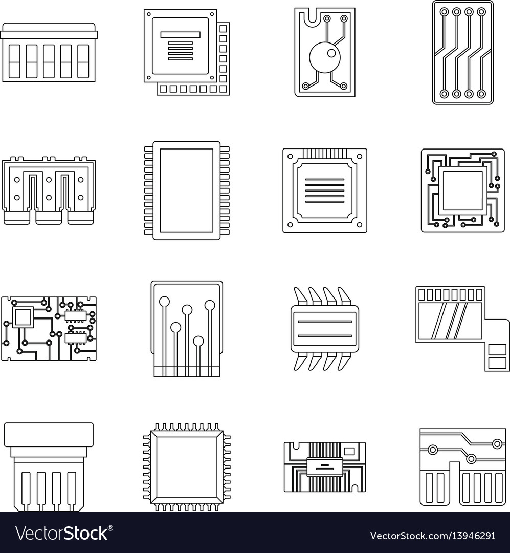 Computer chips icons set outline style