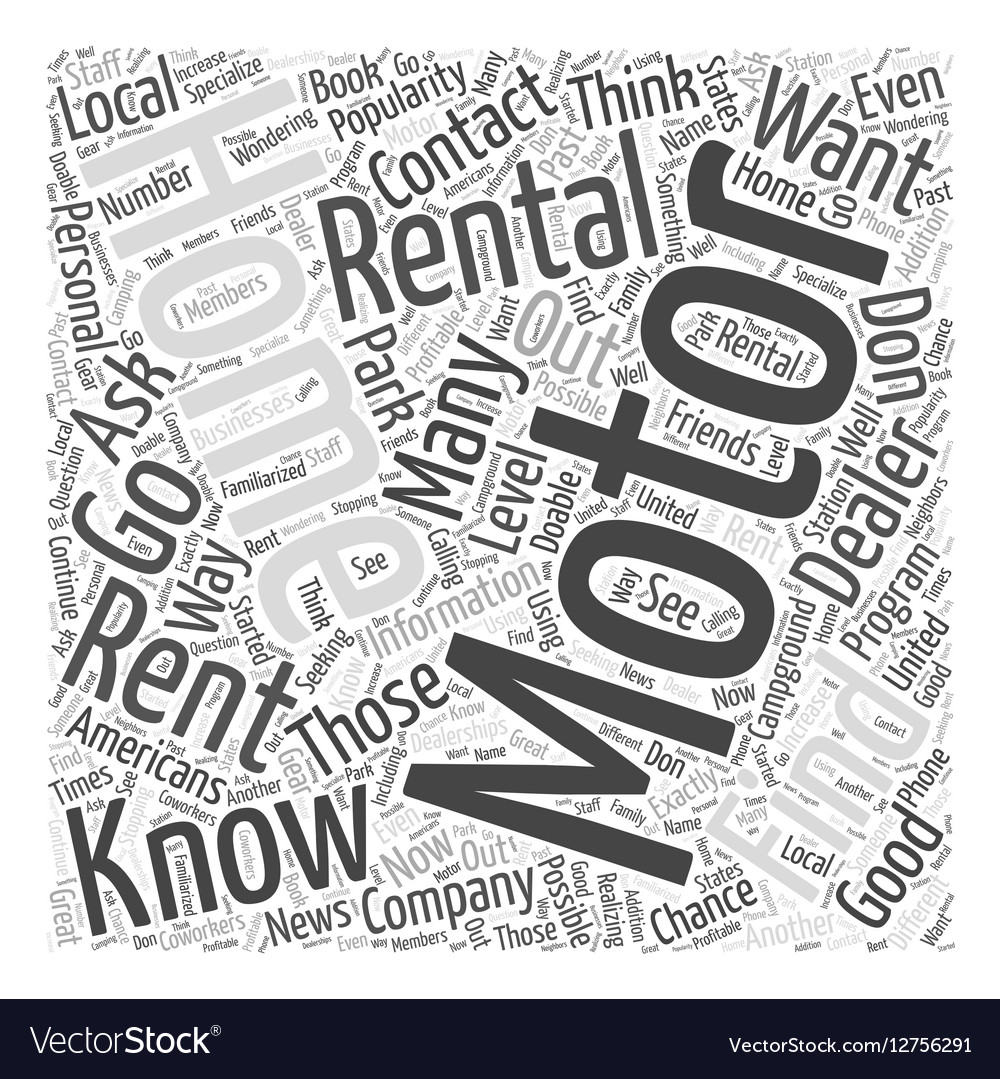 How to Find Motor Home Rentals Word Cloud Concept