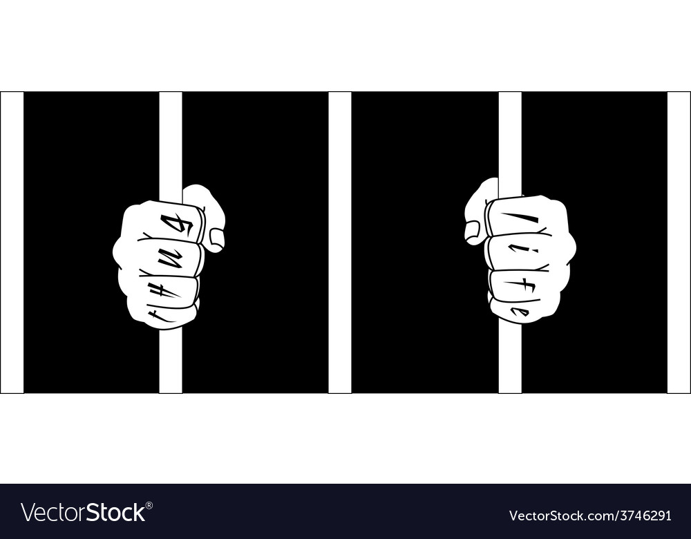 f07f47d3b Male hands with Thug Life tattoo holding prison Vector Image