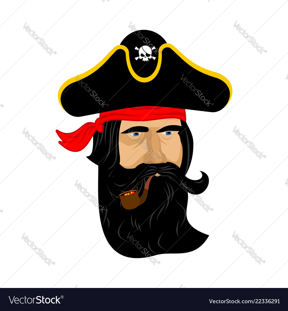 Pirate portrait in hat eye patch and smoking pipe