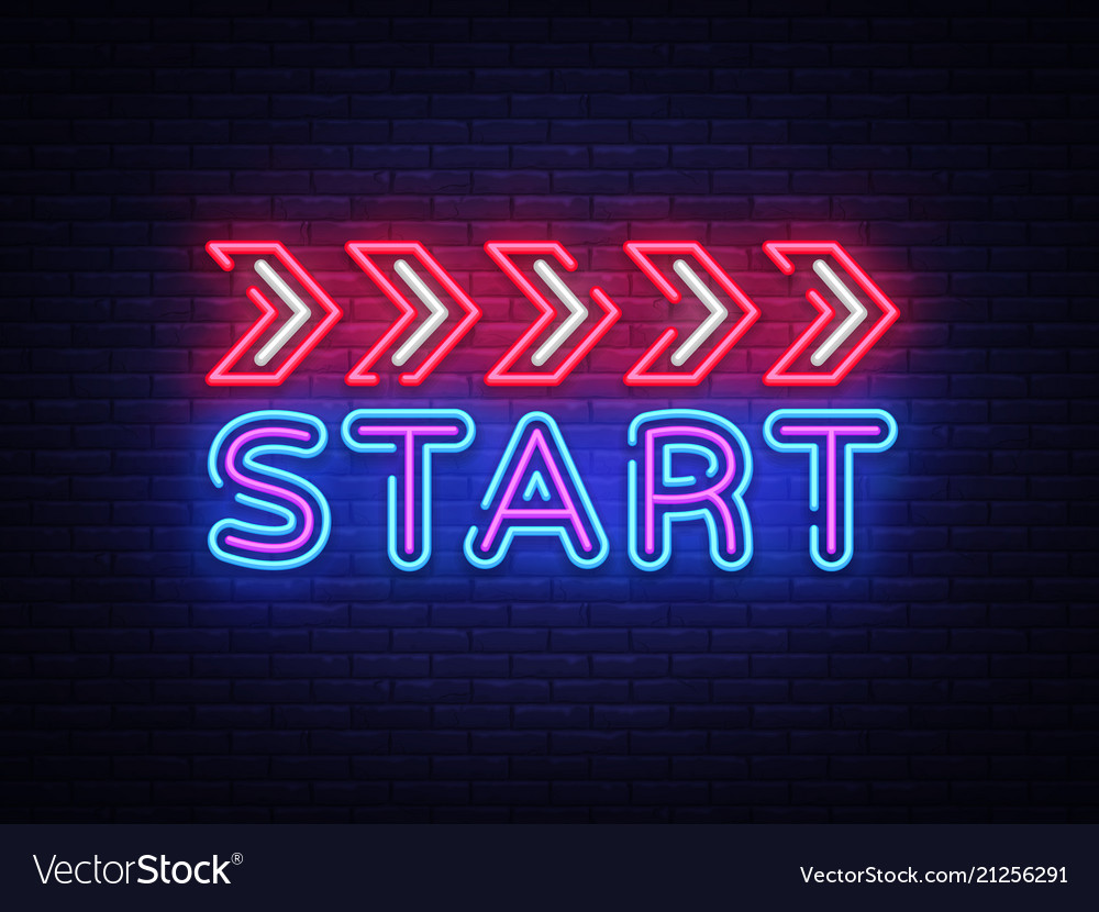 Start neon sign design template start race