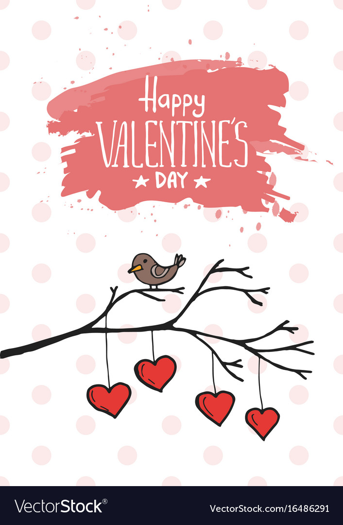 Valentine bird with card