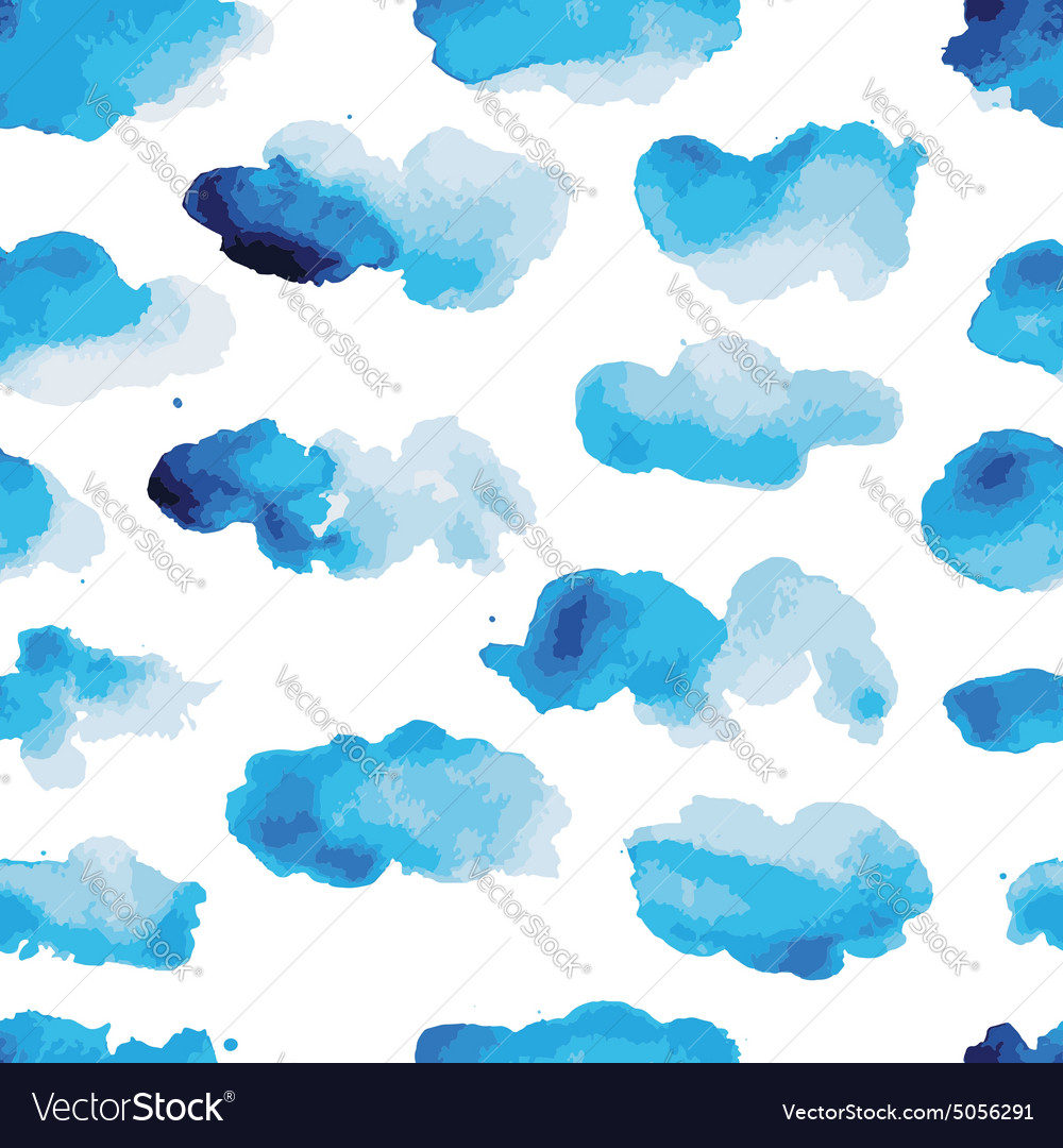 Watercolor clouds seamless pattern for your