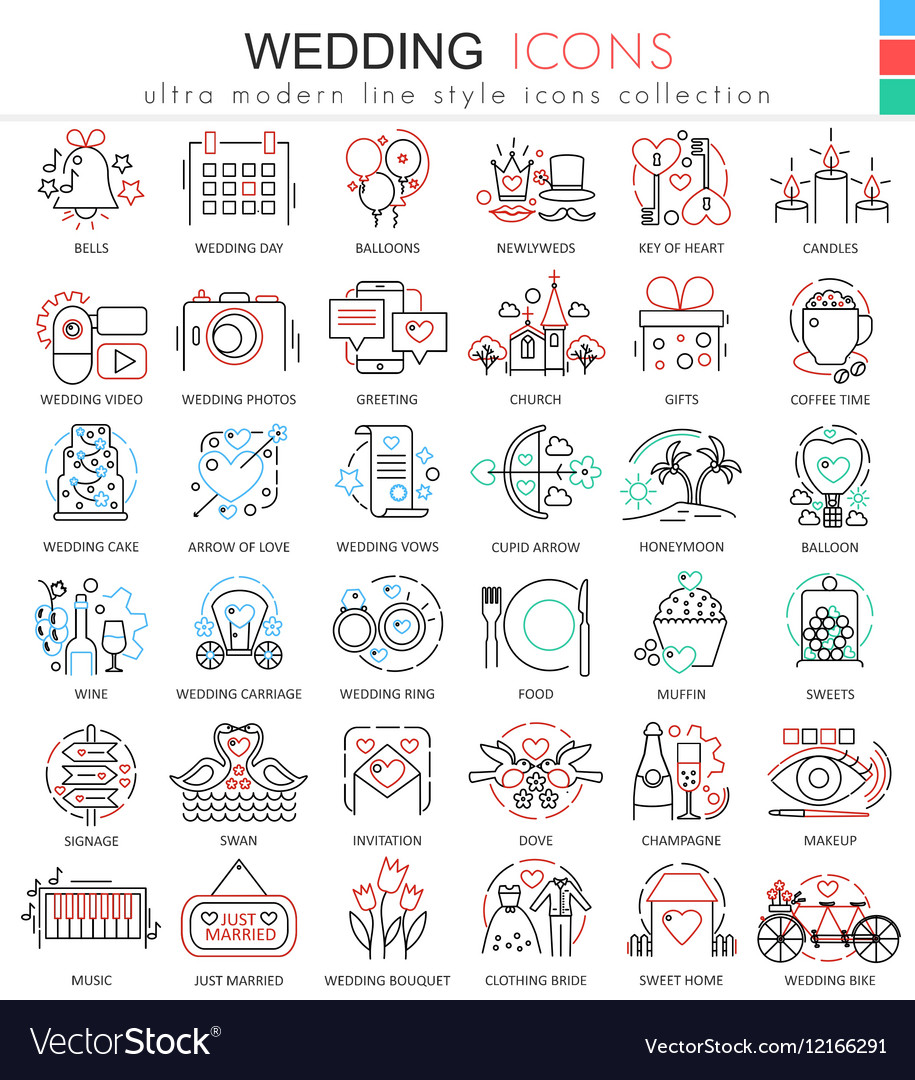 Wedding color line outline icons for apps