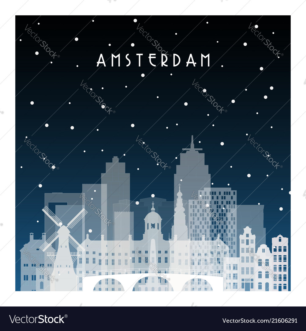 Winter night in amsterdam night city