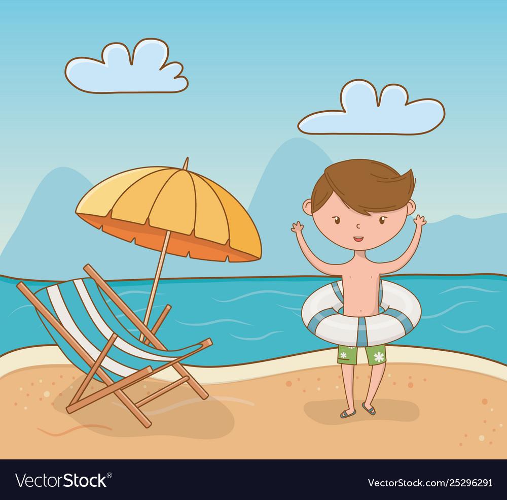 Young boy on beach scene