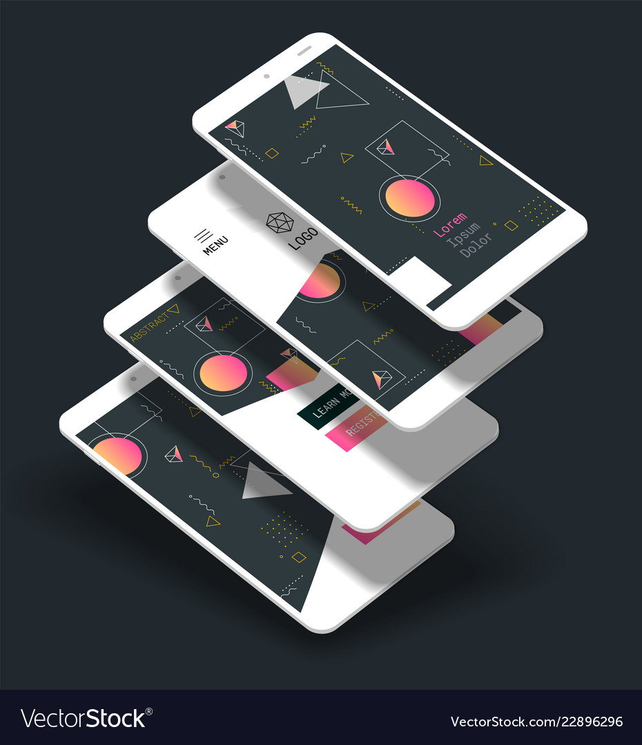 Abstract geometric ui screens 3d mockups trendy