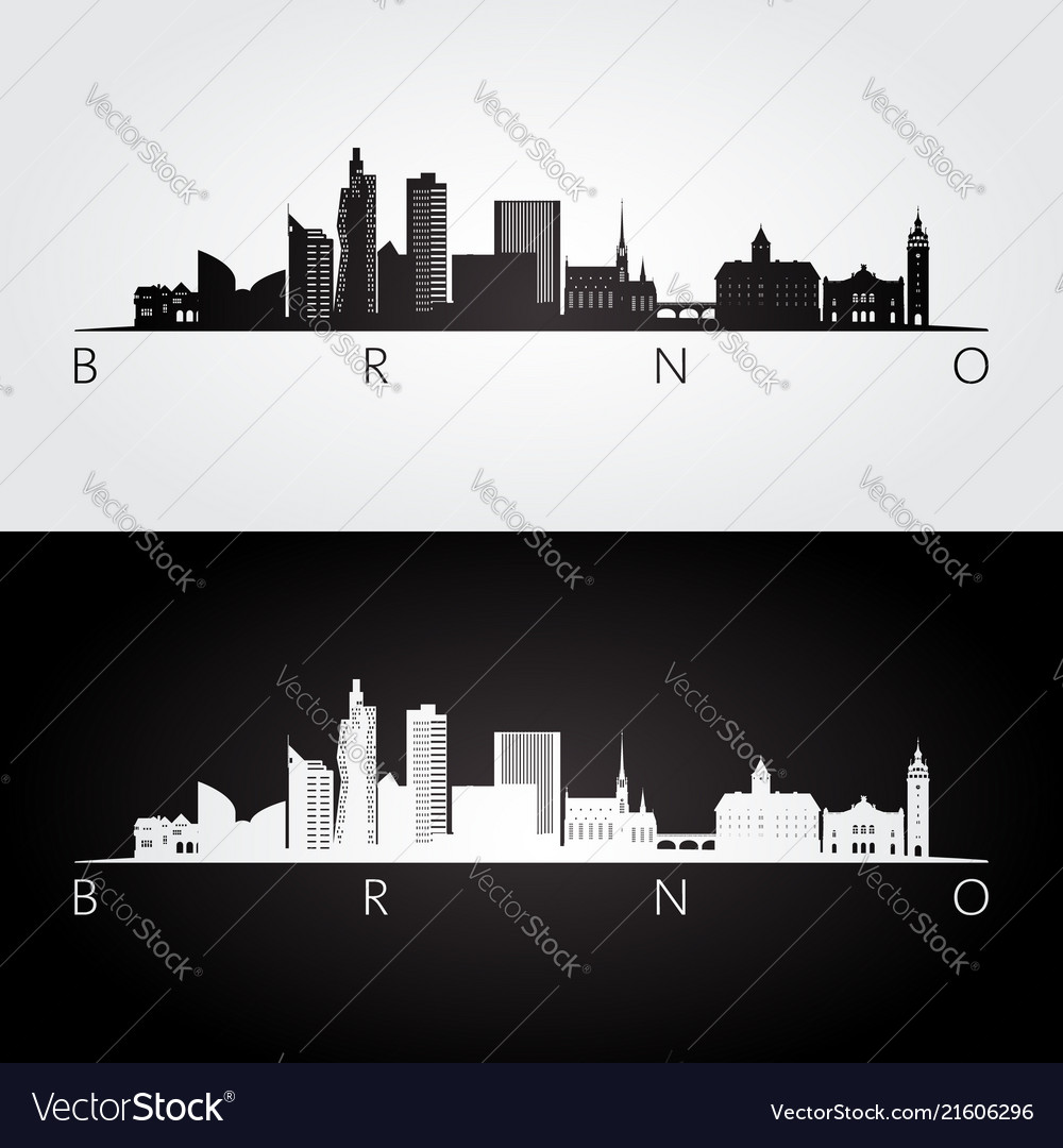 Brno skyline and landmarks silhouette