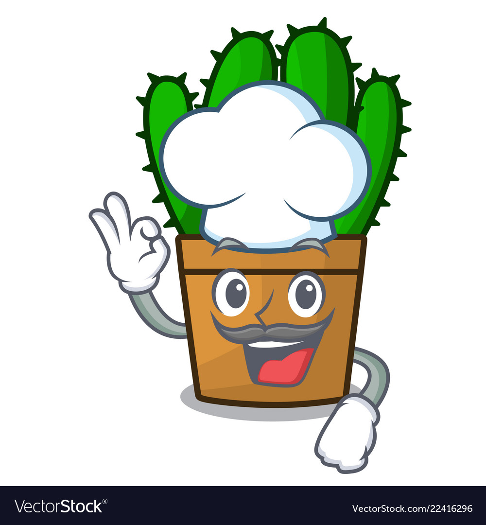 Chef Character Spurge Cactus Home Decor Indoor Vector Image